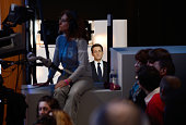 France's incumbent president and Union for a Popular Movement candidate for 2012 presidential election Nicolas Sarkozy waits for the start of the TV...