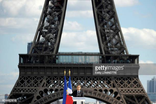 France's incumbent president and Union for a Popular Movement party candidate for the French 2012 presidential election Nicolas Sarkozy delivers a...