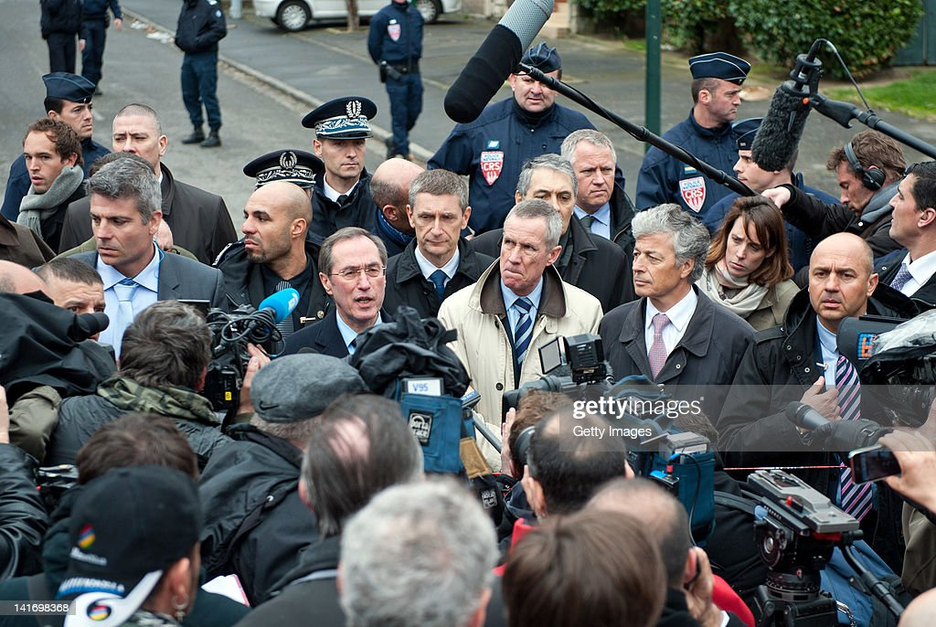 France's Interior Minister <a gi-track='captionPersonalityLinkClicked' href=/galleries/search?phrase=Claude+Gueant&family=editorial&specificpeople=861764 ng-click='$event.stopPropagation()'>Claude Gueant</a> (C) speaks to the press after an operation to arrest Mohammed Merah, the man suspected of killing seven victims including three children in separate gun attacks on March 22 in Toulouse, France. Three police were reported injured in the operation, which neared its conclusion with sustained gunfire. Mohammed Merah is now reported dead after almost 30 hours besieged in an apartment in Toulouse.