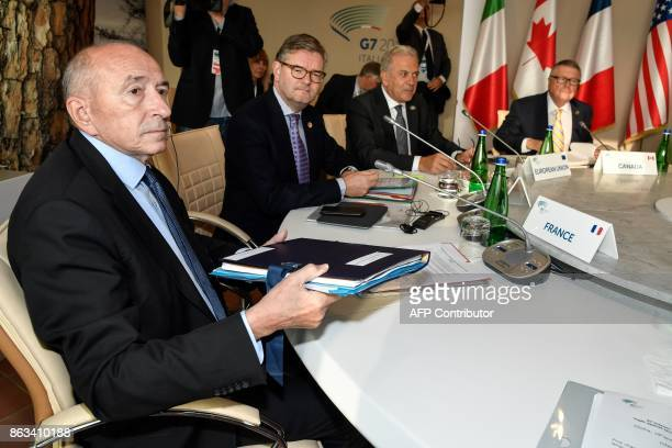 France's Interior Minister Gerard Collomb European safety commissioner Julian King EU commissioner for migration Dimitris Avramopoulos and Canada's...