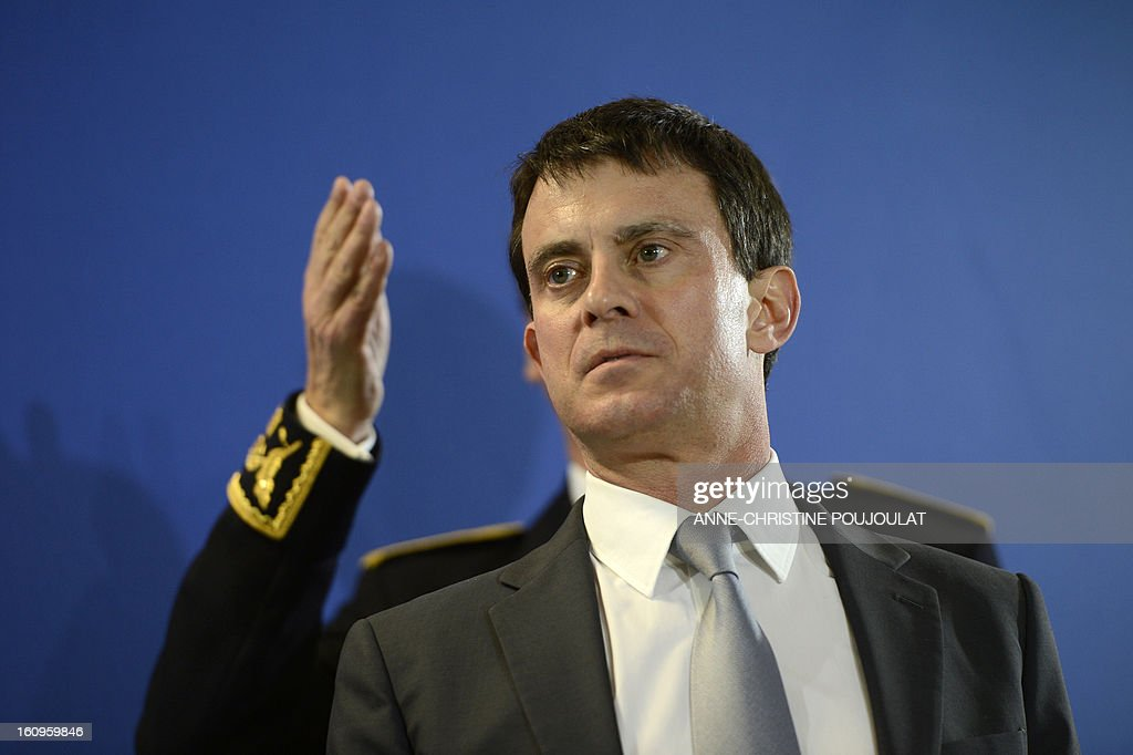 France's Interior Minister Manuel Valls attends the inauguration of the Urban Supervision Centre (CSU) on February 8, 2013 in Marseille, southern France.
