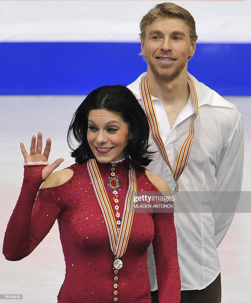 France's Isabelle Delobel and Olivier Schoenfelder pose on the podium after their free dance at the Dom Sportova Arena in Zagreb, 25 January 2008, during the European Figure Skating Championships 2008. Russia's Okasana Dommina and Maxim Shabalin took the gold, France's Isabelle Delobel and Olivier Schoenfelder the silver and Russia's Jana Khokhlova and Sergei Novitski the bronze.