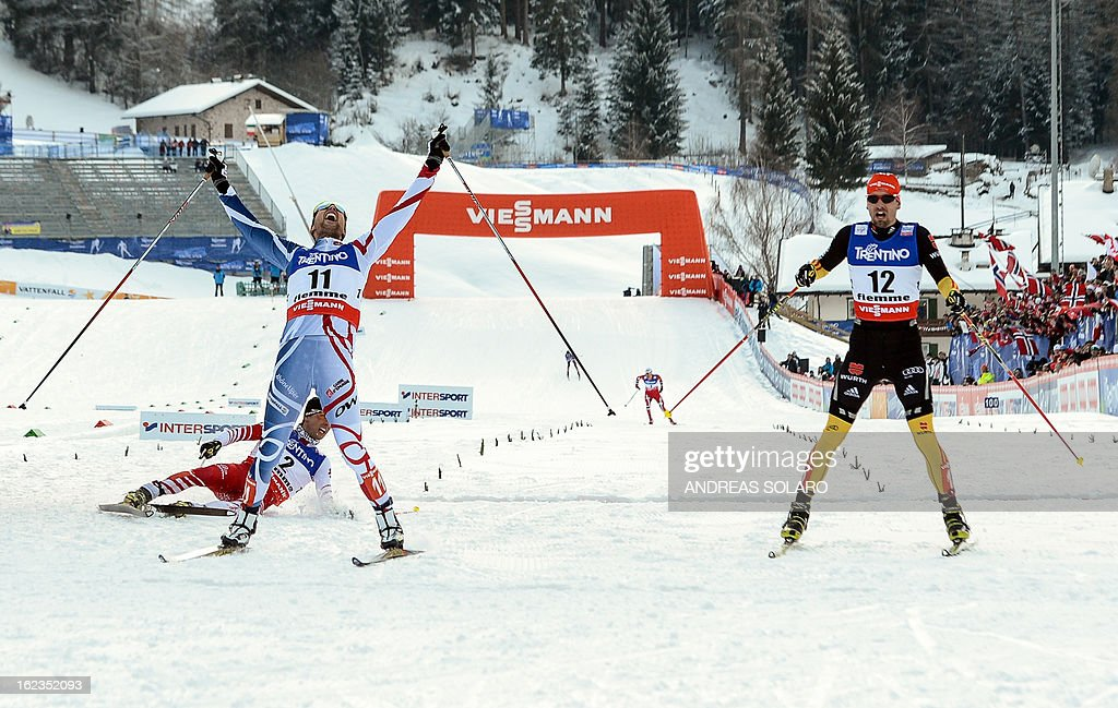France's Jason Lamy Chappuis (2nd L) crosses the finish line ahead of (from L) Austria's Mario Stecher and Germany's Bjoern Kircheisen at the end of the men's cross country 10 km race of the Nordic Combined Individual Gundersen as part of the Val di Fiemme FIS Nordic World ski championships in Cavalese, north Italy on February 22, 2013.