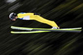 France's Jason LamyChappuis jumps in the Nordic Combined men's Ski Jumping Individual LH trial at Whistler Olympic Park during the Vancouver Winter...