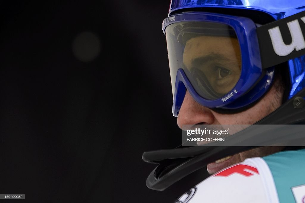 France's Jean-Baptiste Grange looks on after placed 16th in the men's giant slalom race of the FIS Alpine Skiing World Cup in Adelboden, on January 13, 2013.