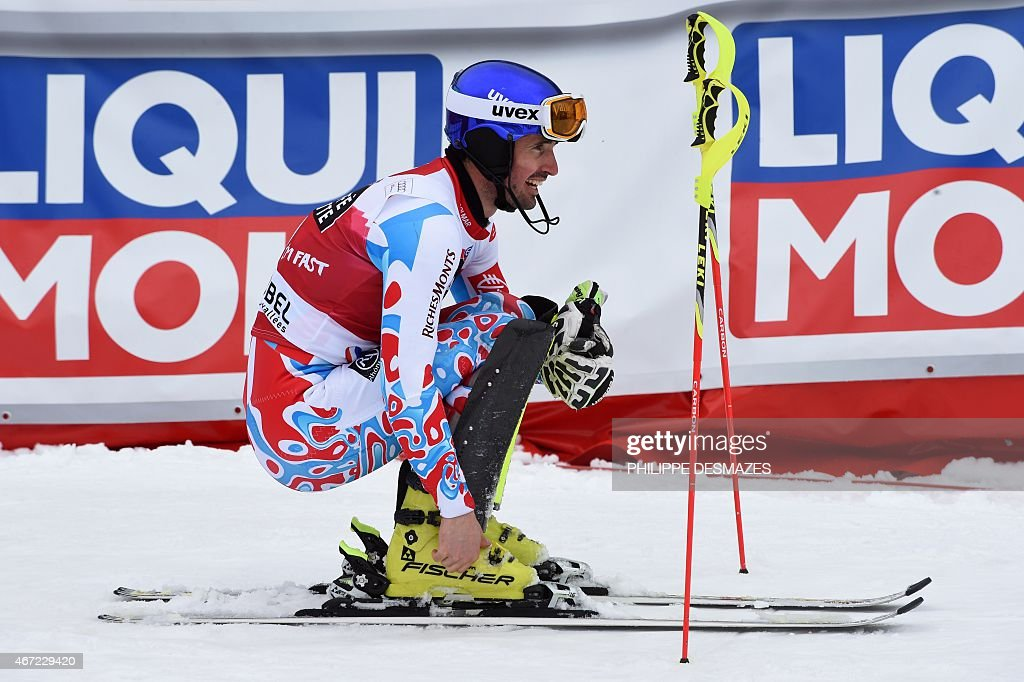 France's <a gi-track='captionPersonalityLinkClicked' href=/galleries/search?phrase=Jean-Baptiste+Grange&family=editorial&specificpeople=807801 ng-click='$event.stopPropagation()'>Jean-Baptiste Grange</a> reacts after taking part in the second run of the men's Slalom race at the FIS Alpine Skiing World Cup finals in Meribel on March 22, 2015.
