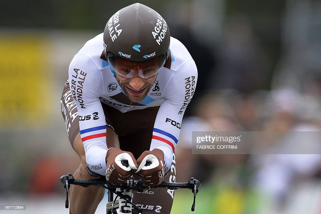 France's Jean-Christophe Peraud rides during the last stage of the Tour de Romandie cycling race, a 18,7 km race against the clock, on April 28, 2013 in Geneva.