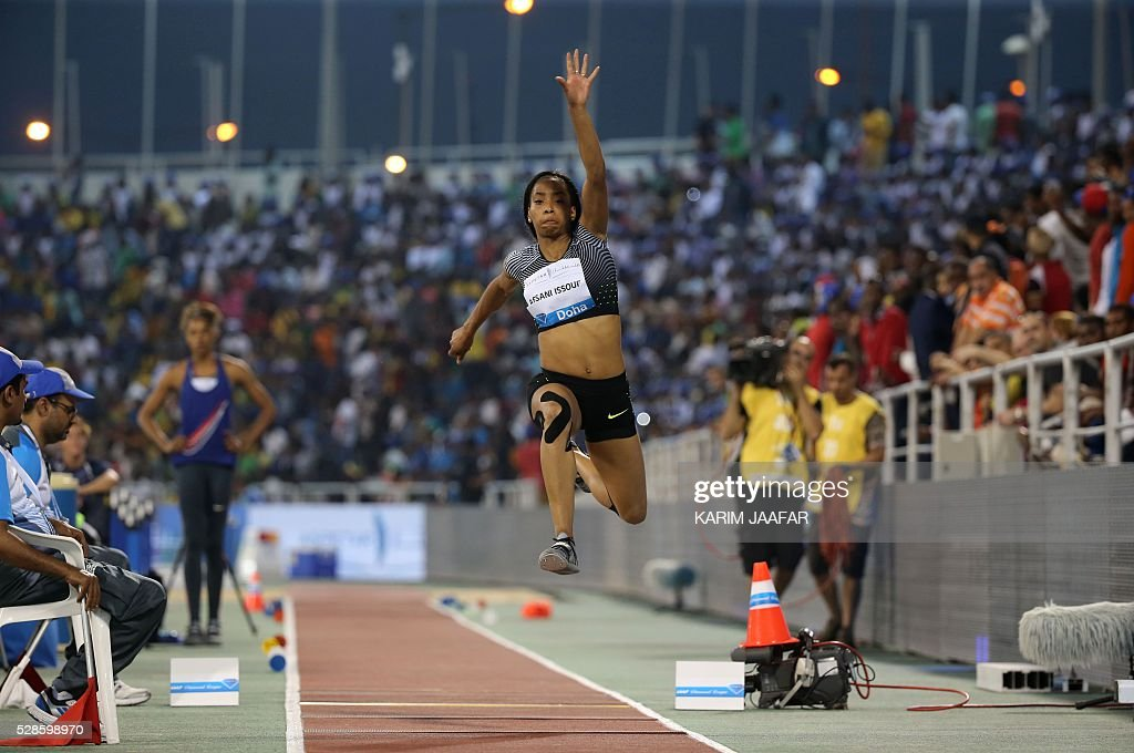 France's Jeanine Assani Issouf competes in the women's triple jump event at the Diamond League athletics competition at the Suhaim bin Hamad Stadium in Doha on May 6, 2016. / AFP / KARIM
