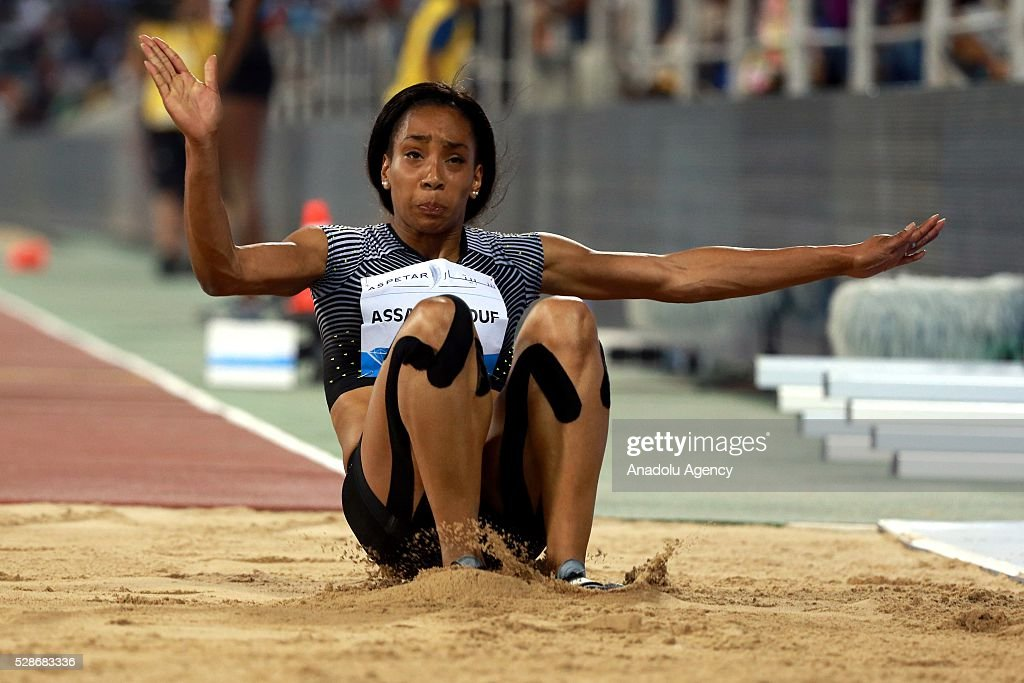 France's Jeanine Assani Issouf competes in the women's triple jump event at the Diamond League athletics competition at the Qatars Sports Club Stadium in Doha on May 6, 2016.