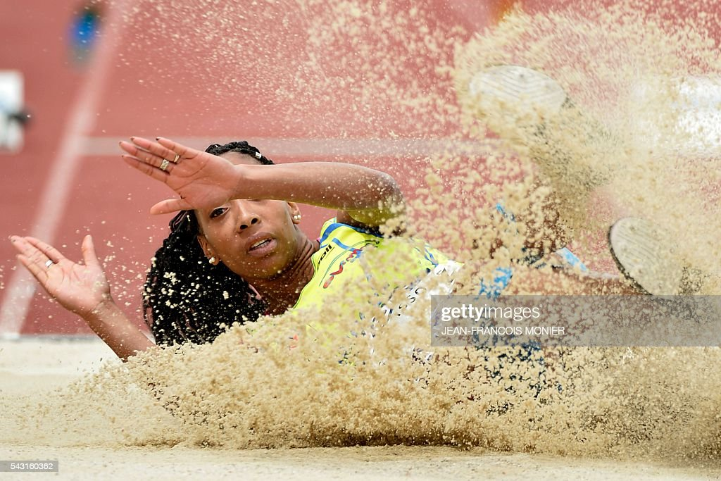 France's Jeanine Assani Issouf competes the women triple jump final of the French Athletics Elite championships on June 26, 2016 at the Lac de Maine stadium in Angers, western France. / AFP / JEAN