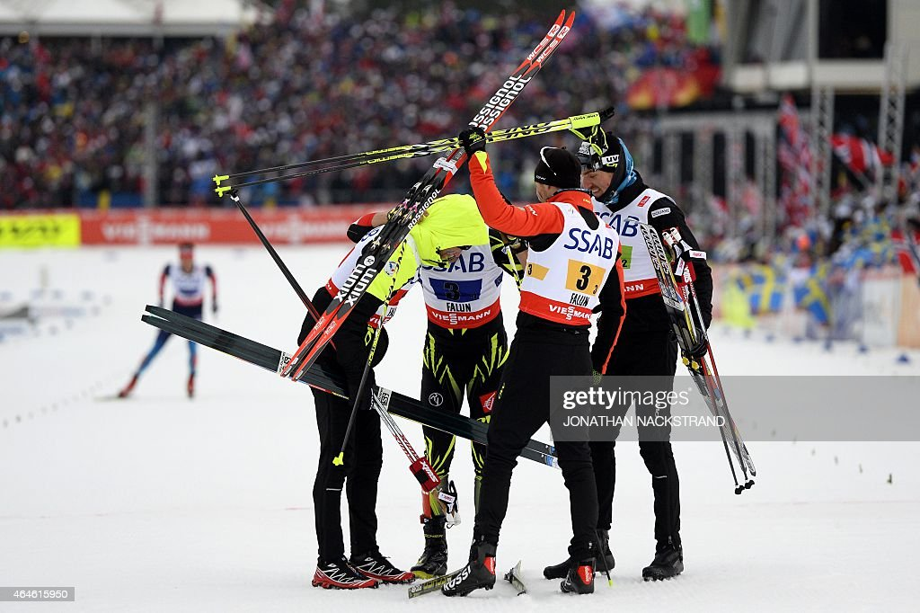 France's <a gi-track='captionPersonalityLinkClicked' href=/galleries/search?phrase=Jean-Marc+Gaillard&family=editorial&specificpeople=4137578 ng-click='$event.stopPropagation()'>Jean-Marc Gaillard</a>, Adrien Backscheider, <a gi-track='captionPersonalityLinkClicked' href=/galleries/search?phrase=Robin+Duvillard&family=editorial&specificpeople=6680782 ng-click='$event.stopPropagation()'>Robin Duvillard</a> and <a gi-track='captionPersonalityLinkClicked' href=/galleries/search?phrase=Maurice+Manificat&family=editorial&specificpeople=5632025 ng-click='$event.stopPropagation()'>Maurice Manificat</a> react at the finish line after placing third in the men's 4x10 km cross-country relay at the 2015 FIS Nordic Skiing World Championships in Falun, Sweden, February 27, 2015. AFP PHOTO / JONATHAN NACKSTRAND