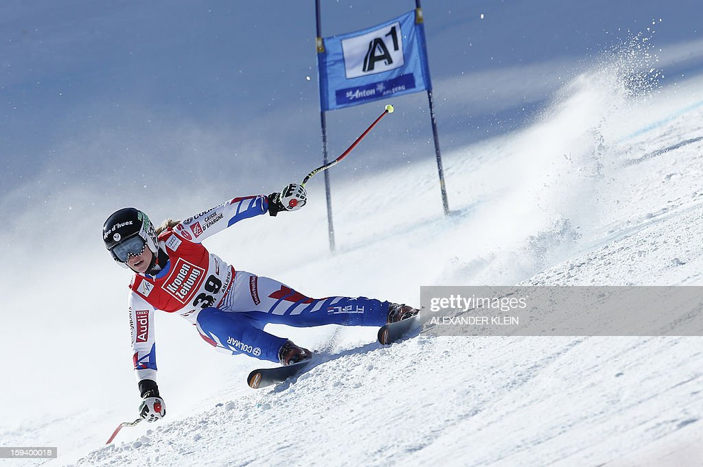 France's Jennifer Piot competes during the women's World Cup Super G, on January 13, 2013 in St Anton am Arlberg, Austria. Slovenia's Tina Maze won ahead of Austria's Anna Fenninger and Switzerland's Fabienne Suter.