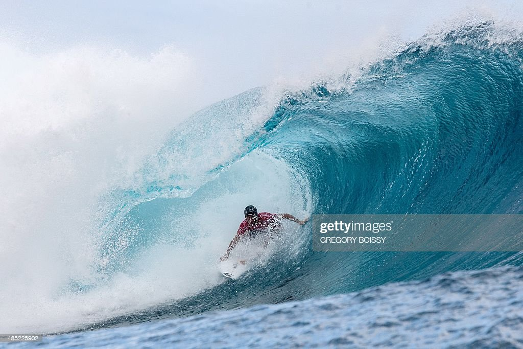 France's Jeremy Flores competes in the 2015 Billabong Pro Tahiti World Surf league tour n°3 along the Teahupo'o coast western of the French polynesia...