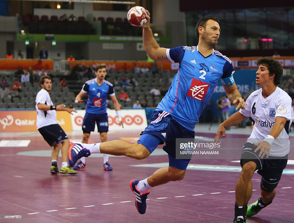 France's <a gi-track='captionPersonalityLinkClicked' href=/galleries/search?phrase=Jerome+Fernandez&family=editorial&specificpeople=791049 ng-click='$event.stopPropagation()'>Jerome Fernandez</a> attempts a shot on goal during the 24th Men's Handball World Championships Eighth Final EF8 match between France and Argentina at the Ali Bin Hamad Al Attiya Arena in Doha on January 26, 2015.
