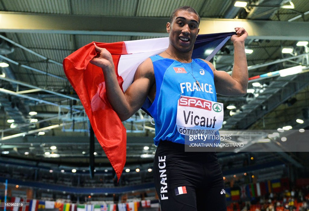 France's <a gi-track='captionPersonalityLinkClicked' href=/galleries/search?phrase=Jimmy+Vicaut&family=editorial&specificpeople=7124608 ng-click='$event.stopPropagation()'>Jimmy Vicaut</a> celebrates winning the men's 60m final at the European Indoor Athletics Championships in Gothenburg, Sweden, on March 2, 2013.