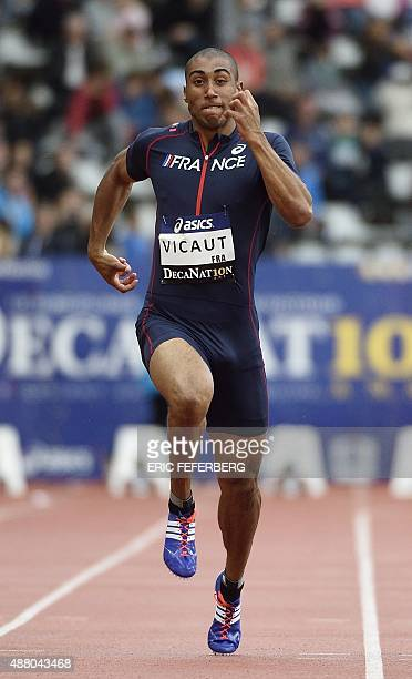 France's Jimmy Vicaut competes in the men's 100m race at the DecaNation athletics meeting at Charlety Stadium in Paris on September 13 2015 AFP PHOTO...