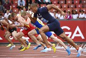 France's Jimmy Vicaut competes in the Men's100m heats during the European Athletics Championships at the Letzigrund stadium in Zurich on August 12...