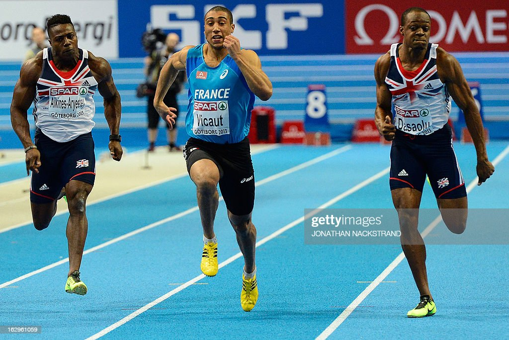 France's Jimmy Vicaut (C) competes to win the men's 60m final ahead of 2nd placed Great Britain's James Dasaolu (R) and Great Britain's Harry Aikines-Aryeetey (L) at the European Indoor Athletics Championships in Gothenburg, Sweden, on March 2, 2013.