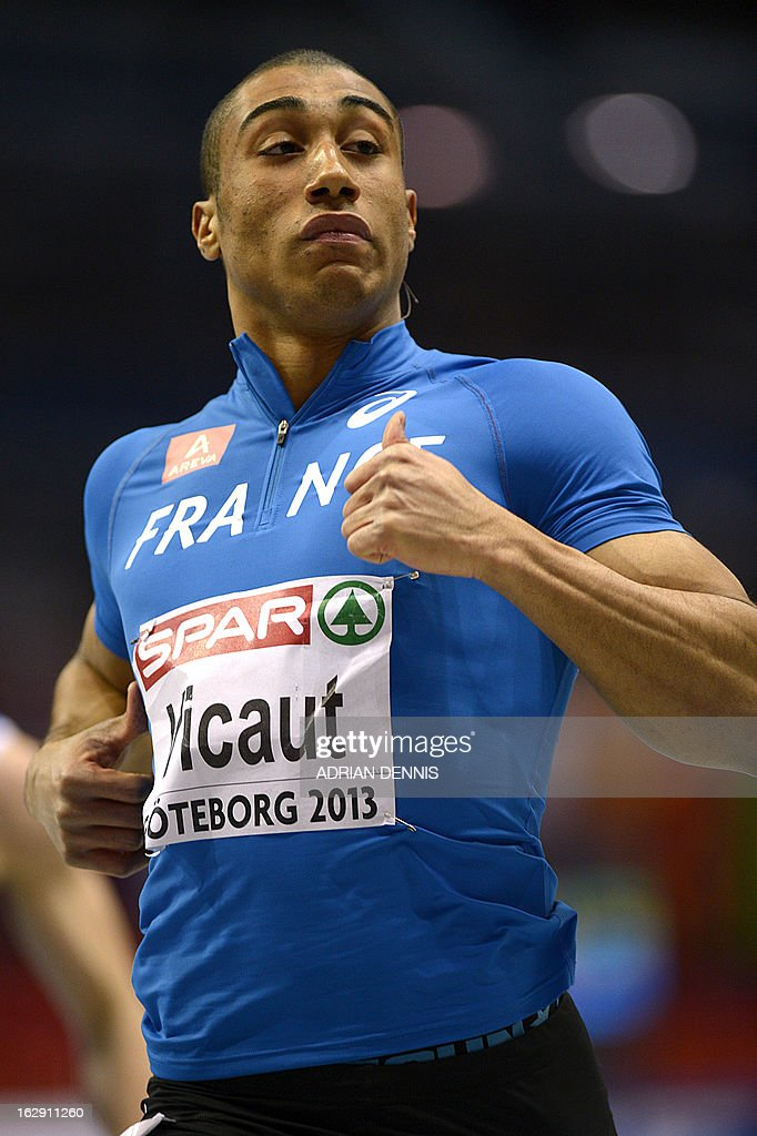 France's <a gi-track='captionPersonalityLinkClicked' href=/galleries/search?phrase=Jimmy+Vicaut&family=editorial&specificpeople=7124608 ng-click='$event.stopPropagation()'>Jimmy Vicaut</a> reacts after competing in the 60m Men 1st Round 2nd heat event at the European Indoor Athletics Championships in Gothenburg, Sweden, on March 1, 2013.
