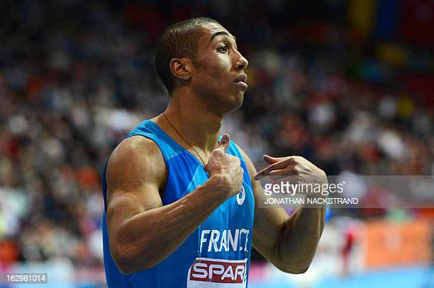 France's Jimmy Vicaut reacts after winning in the Men's 60m final event at the European Indoor Athletics Championships in Gothenburg Sweden on March...
