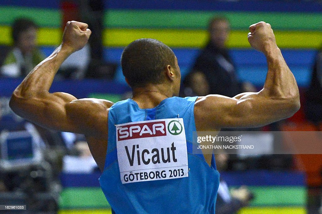 France's <a gi-track='captionPersonalityLinkClicked' href=/galleries/search?phrase=Jimmy+Vicaut&family=editorial&specificpeople=7124608 ng-click='$event.stopPropagation()'>Jimmy Vicaut</a> reacts after winning in the Men's 60m final event at the European Indoor Athletics Championships in Gothenburg, Sweden, on March 2, 2013.