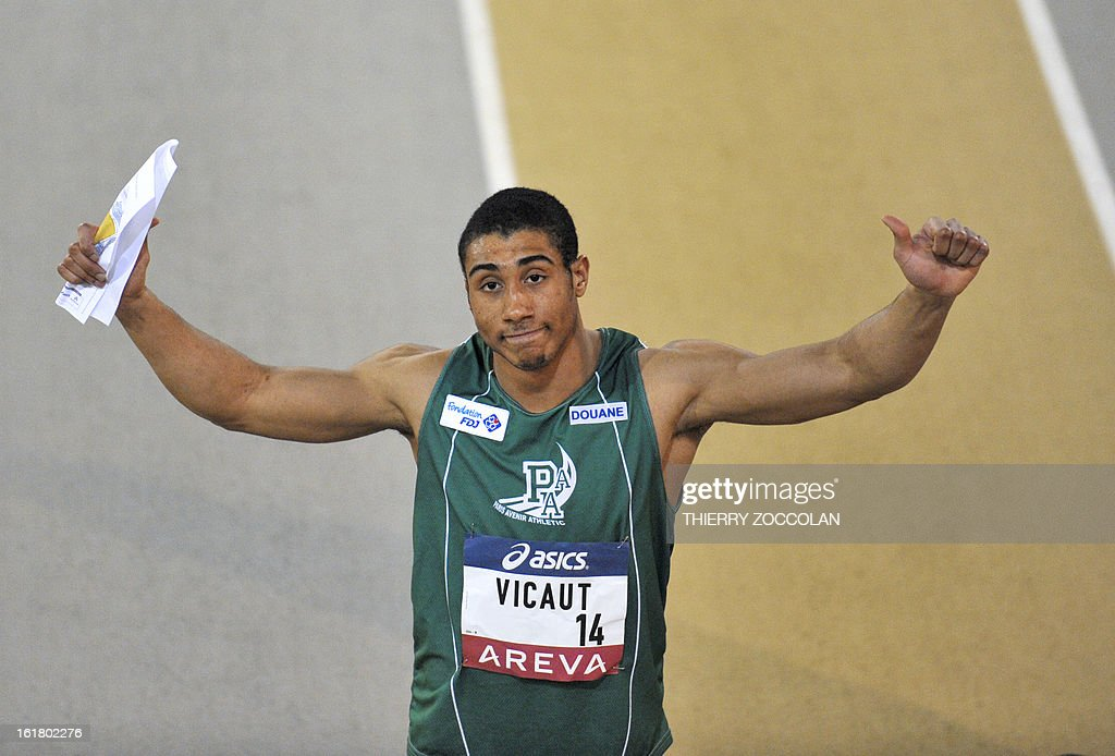 France's Jimmy Vicaut reacts after winning the men's 60m race at the 2013 French Indoor Athletics championships on February 16, 2013 in Aubiere, central France. ZOCCOLAN