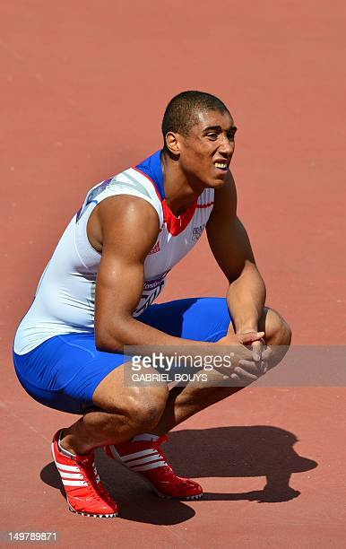 France's Jimmy Vicaut waits for the results after competing in the men's 100m heats at the athletics event of the London 2012 Olympic Games on August...