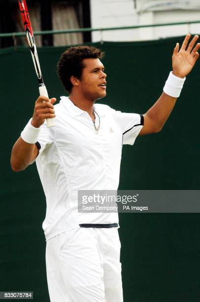 France's JoeWilfried Tsonga during the Men's Final of the Surbiton Trophy tournament at Surbiton Racket and Fitness Club Surrey