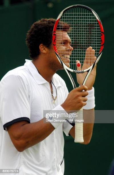 France's JoeWilfried Tsonga in action during the Men's Final of the Surbiton Trophy tournament at Surbiton Racket and Fitness Club Surrey