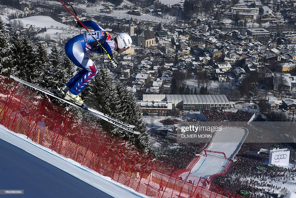 France's Johan Clarey competes during the men's World Cup Downhill, on January 26, 2013 in Kitzbuehel, Austrian Alps . Italy's Dominik Paris won the event, Canada's Erik Guay finished second and Austria's Hannes Reichelt third. AFP PHOTO / OLIVIER MORIN