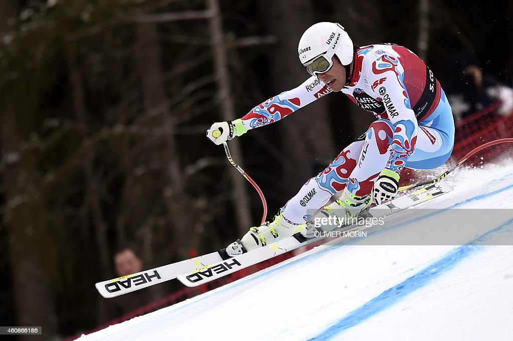 France's <a gi-track='captionPersonalityLinkClicked' href=/galleries/search?phrase=Johan+Clarey&family=editorial&specificpeople=4051720 ng-click='$event.stopPropagation()'>Johan Clarey</a> competes in the Men's FIS Ski World Cup downhill event in Santa Caterina, Italy, on December 28, 2014.