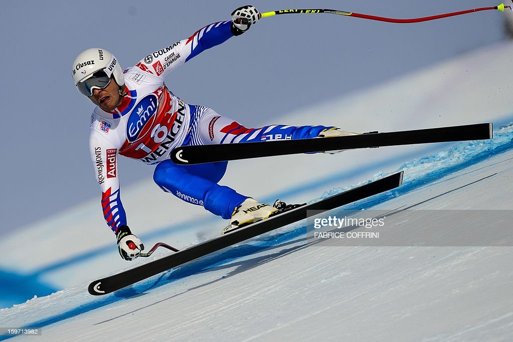 France's Johan Clarey competes on January 19 2013 to place fifth in the men's downhill race of the FIS Alpine Skiing World Cup in Wengen AFP PHOTO /...