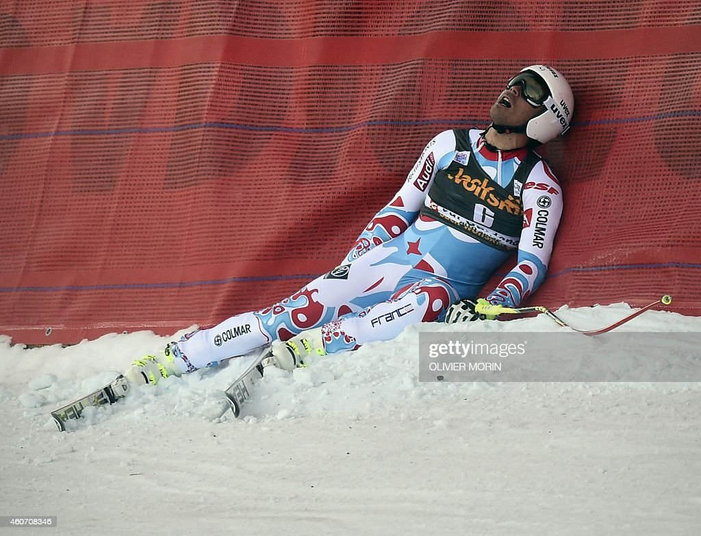 France's <a gi-track='captionPersonalityLinkClicked' href=/galleries/search?phrase=Johan+Clarey&family=editorial&specificpeople=4051720 ng-click='$event.stopPropagation()'>Johan Clarey</a> reacts after his falls during the mens Super G at the FIS Alpine Skiing World Cup in Val Gardena on December 20, 2014.
