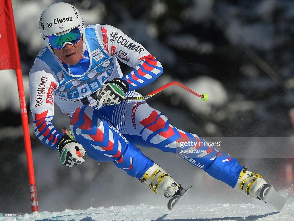France's Johan Clary skis during the downhill practice for the Alpine Skiing World Cup in Lake Louise, Canada on November 22, 2012.