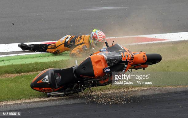 France's Johann Zarco crashes at Becketts during the British Moto 2 Grand Prix at Silverstone Circuit Northamptonshire