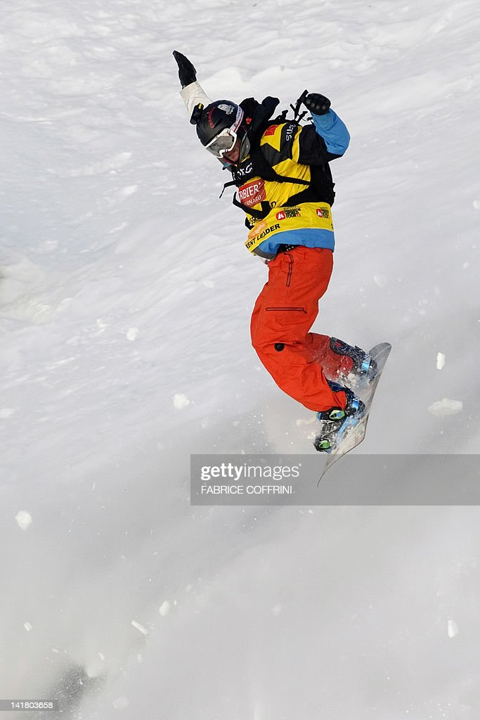 France's Jonathan Charlet competes in the New 2012 Freeride World Champion at the Men's snowboard event on the Bec de Rosses mountain during the Xtreme Freeride World Tour final on March 24, 2012 above the Swiss Alps resort of Verbier.