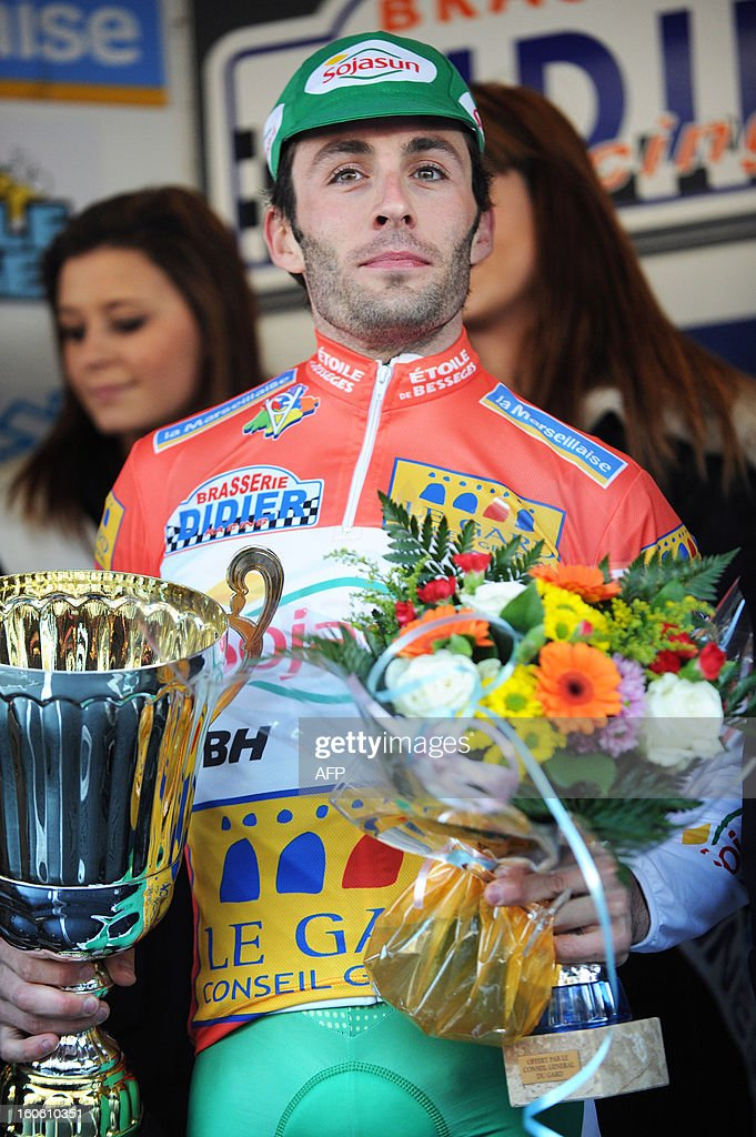 France's Jonathan Hivert poses on the podium after winning the 43rd Etoile de Besseges cycling race on February 3, 2013 in Ales, southern France.