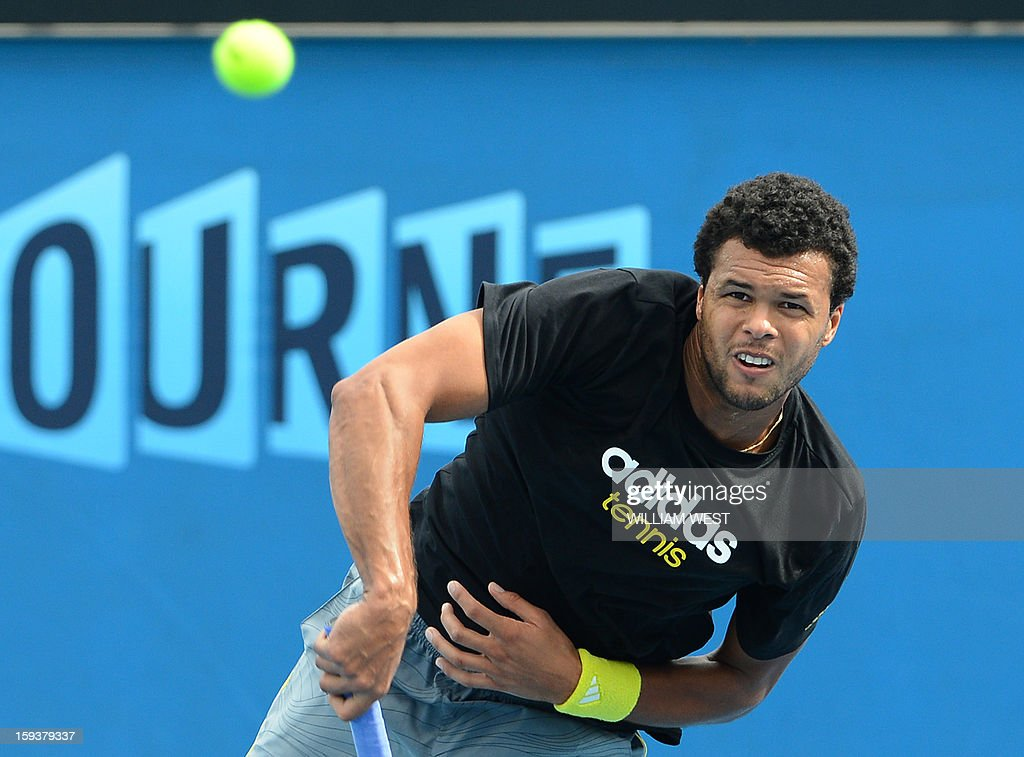 France's Jo-Wilfried Tsonga hits a return during a training session ahead of the Australian Open tennis tournament in Melbourne on January 13, 2013.
