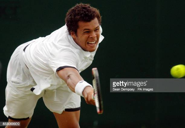 France's JoWilfried Tsonga in action against Australia's Chris Guccione during the Surbiton Trophy tournament at Surbiton Racket and Fitness Club...