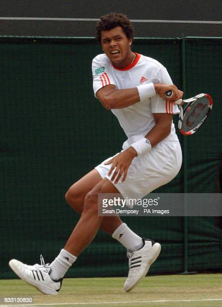 France's JoWilfried Tsonga in action against France's Richard Gasquet during The All England Lawn Tennis Championship at Wimbledon