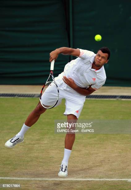 France's JoWilfried Tsonga in action against USA's Mardy Fish