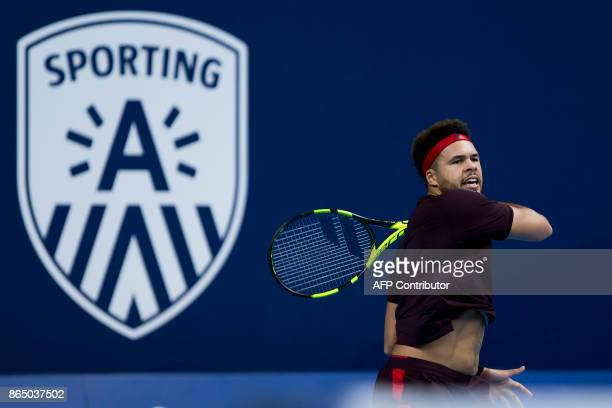 France's JoWilfried Tsonga plays a return during his men's singles final tennis match against Argentina's Diego Schwartzman at the ATP Antwerp tennis...