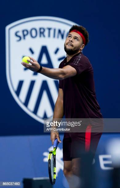 France's JoWilfried Tsonga serves during his men's singles final tennis match against Argentina's Diego Schwartzman at the ATP Antwerp tennis...