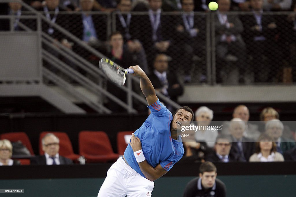 France's Jo-Wilfried Tsonga serves to opponent Israel's Amir Weintraub during the first singles match of the Davis Cup at the Kindarena stadium in Rouen on February 1, 2013. Tsonga won 6-3, 6-3, 4-6, 7-5.