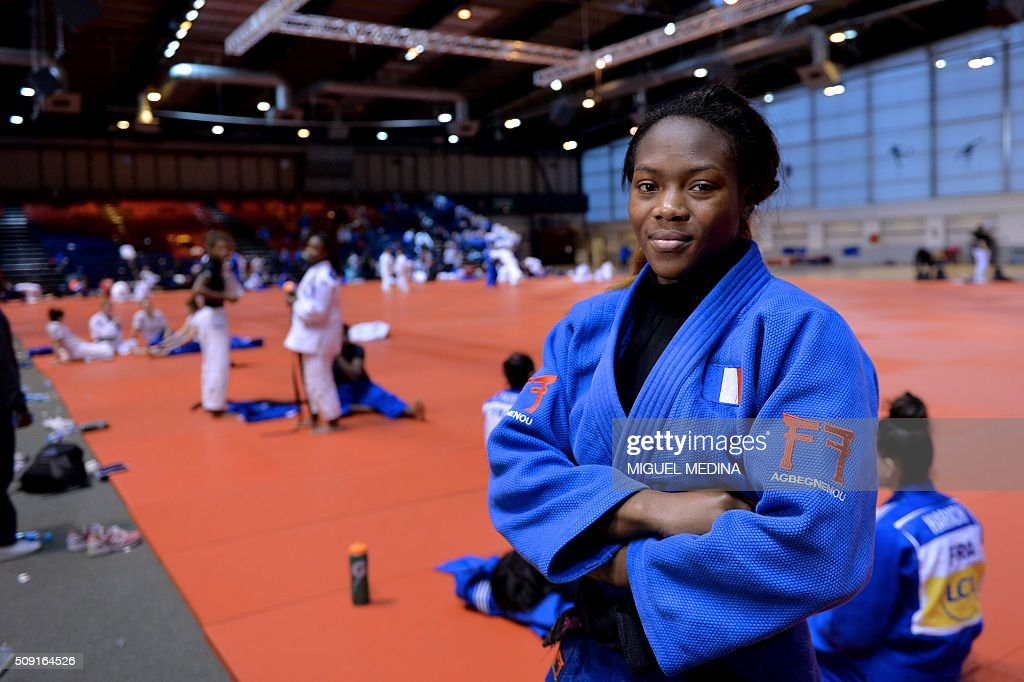 France's judoka Clarisse Agbegnenou takes part in the international Paris Grand Slam 2016 training at the sporthall Carpentier in Paris on February 9, 2016. AFP PHOTO/MIGUEL MEDINA / AFP / MIGUEL MEDINA