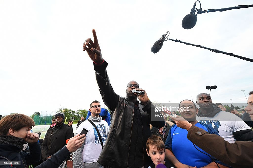 Les Ulis France  City pictures : on May 23, 2016 in Les Ulis.France's defender Patrice Evra and France ...