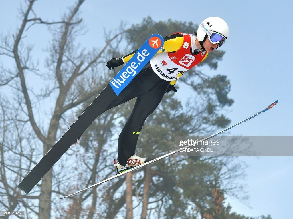 France's Julia Clair jumps during the qualifying round of the women's ski jumping world cup in Hinzenbach, Upper Austria on February 6, 2016. / AFP / APA / BARBARA GINDL / Austria OUT