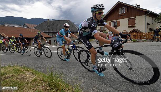 France's Julian Alaphilippe Italy's Vincenzo Nibali Spain's Alejandro Valverde and Great Britain's Christopher Froome ride in the pack during the...