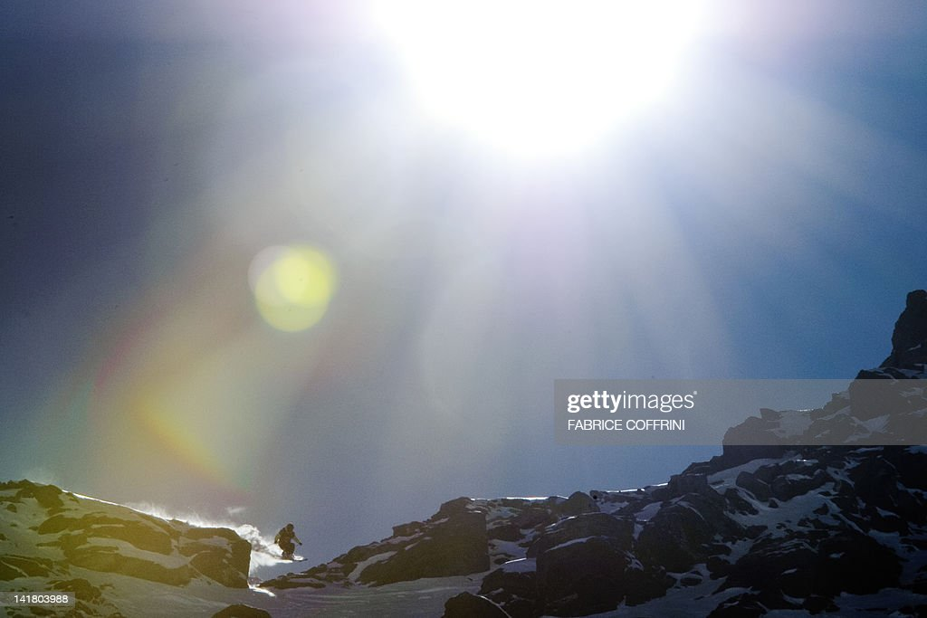 France's Julien Lopez competes on the Bec de Rosses mountain during the Xtreme Freeride World Tour final on March 24, 2012 above the Swiss Alps resort of Verbier.