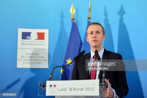 France's Junior minister for foodprocessing Guillaume Garot speaks during a press conference at the Agriculture ministry in Paris on February 18...